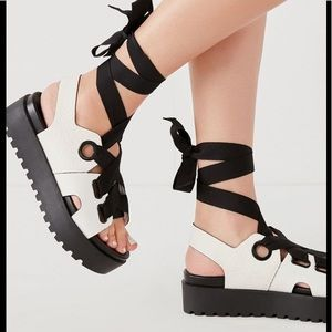 Urban Outfitters Ribbon Lace Up Platform Sandal